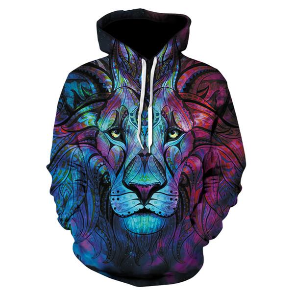 Space Galaxy 3D Hoodies Men/Women leaves and lion 3D Sweatshirt Hoodie Brand Clothing Cap Print Paisley Nebula Jacket