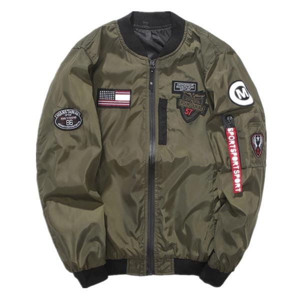 best selling Brand New NASA Mens MA1 Bomber Jacket Insignia USAF Kanye West Hip Hop Sport Male Windbreaker Jacket Flag Mens Spring Thin section Jacket JK