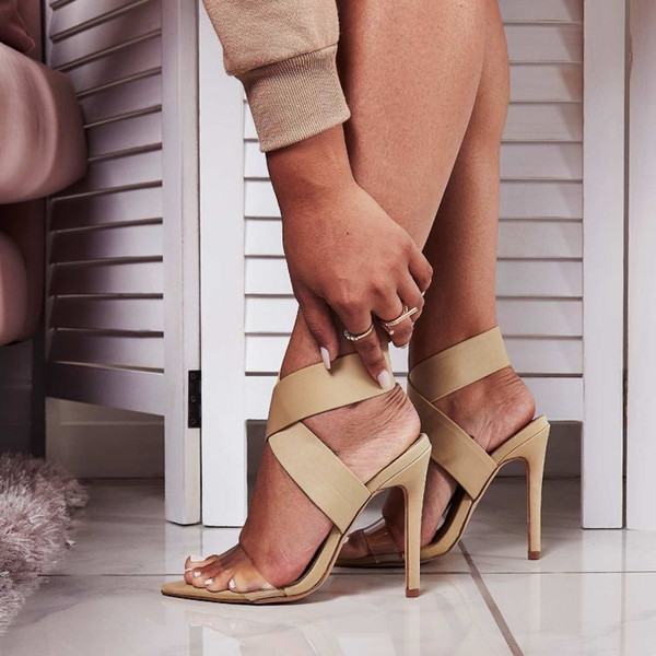 Goddess2019 Crossing Shoes Women's Elastic Force Bring Set Foot One Word Sexy Sharp High With Sandals