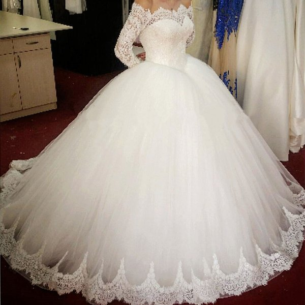 Arabic Dubai Off Shoulder Lace Ball Gown Wedding Dresses Illusion Long Sleeves New 2019 Beaded Pearls Sequins Garden Church Bridal Gowns