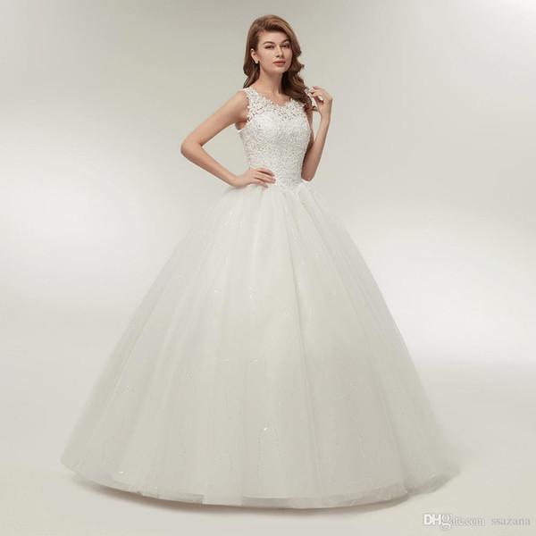 Encima de la bola vestidos de novia vestido de encaje de Corea 2019 de calidad personalizada más el tamaño de vestido de novia real Foto Batas de bal túnicas de bal