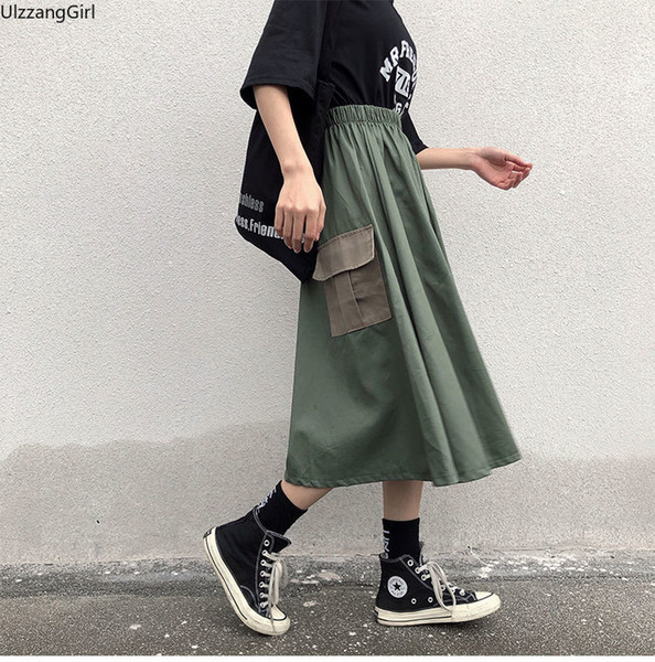 khaki camo green pocket high waist cargo streetwear harajuku korean women fashion loose a-line midi long skirt summer mori girl