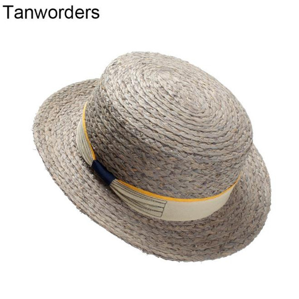 9500e80ecd431 Ladies summer Lafite straw hat flat top hat European and American fashion  bow small travel sun