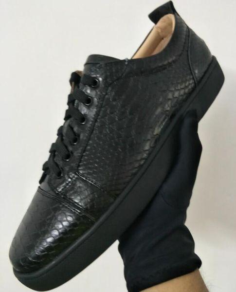 Commercio all'ingrosso 2018 nuovo designer low top serpente stringato scarpa causale uomo donna sneaker a buon mercato rosso blu nero fondo piatto scarpe da festa taglia 36-47