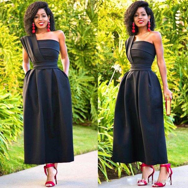 2019 Simple Black Ankle Length Bridesmaid Dresses One Shoulder Draped With Pocket Short Prom Gown High Waist Women's Evening Party Skirts