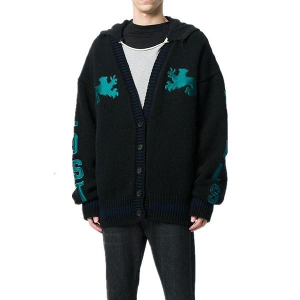 19SS season5 Kanye Örme Ceket Triko Erkekler Kadınlar Hightstreet Hırka Ceket Sonbahar Kış Coats Moda Dış Giyim Oversize KYMJK277