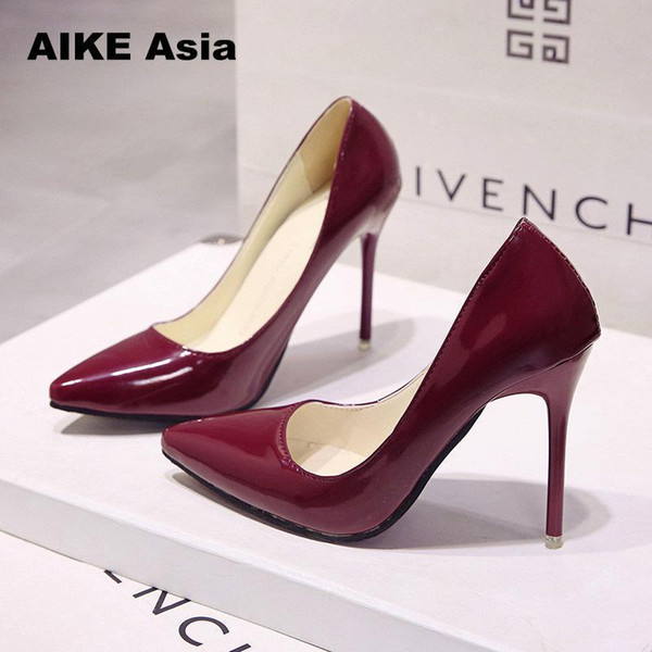 2019 Dress 29 Colors Hot Women Shoes Pointed Toe Pumps Patent Leather Dresshigh Heels Boat Wedding Zapatos Mujer Red wedding 2018