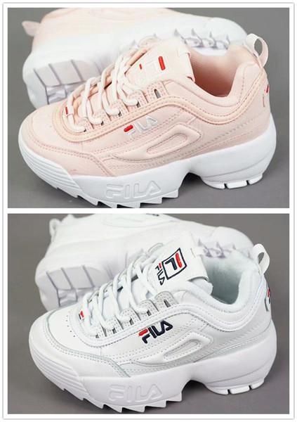 Original FILA Disruptors II 2 Ucuz Bebek Çocuk Orijinal Rahat Ayakkabılar Beyaz Pembe Erkek Kız II 2 Çocuk DOSYA özel bölüm spor sneaker koşu ayakkabıları arttı
