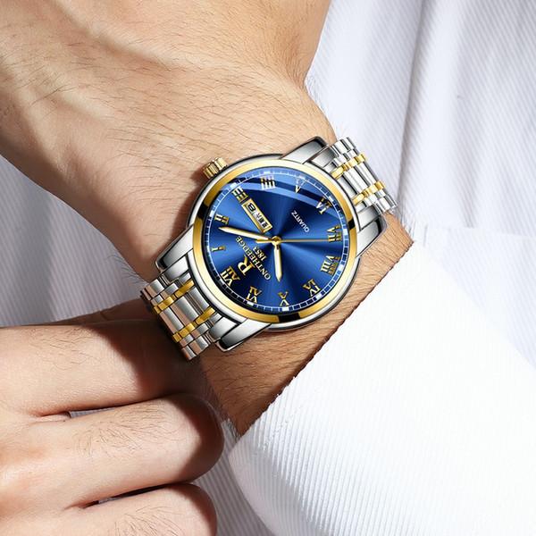 2019 relojes de lujo superior de mesa circular par los hombres de concha fina de acero miran tres mujeres agujas del reloj del negocio