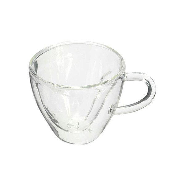 Heart Shaped Heat Resistant Double Wall Layer Clear Glass Cups Mug