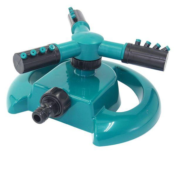 3Nozzle agua de riego de 360 grados de rotación automática de Gran Tenedor de riego de jardín de riego de riego plástica césped de hierba jardinería