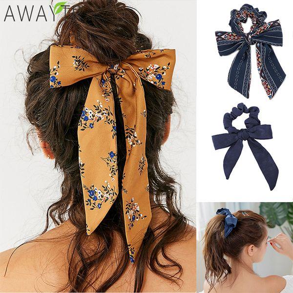 Bow Streamers Hair Ring Fashion Ribbon Girl Hair Bands Scrunchies Horsetail Tie Solid Headwear Hair Accessories