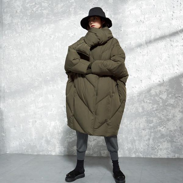 2018 Colecção de Inverno new arrrivals com cachecol manga batwing oversize longo casaco de inverno pato branco para baixo mulheres jaqueta
