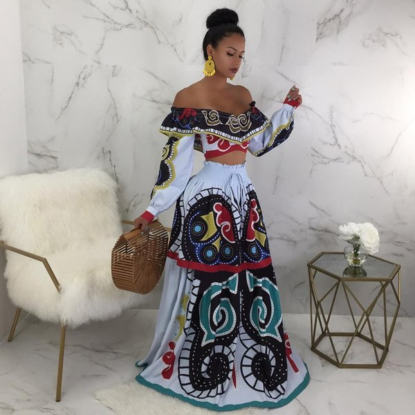 New Butterfly Printed Casual Shirt Dress Women Off Shoulder Long Sleeve Fit And Flare Maxi Dress Spring Fashion 2Pcs Set