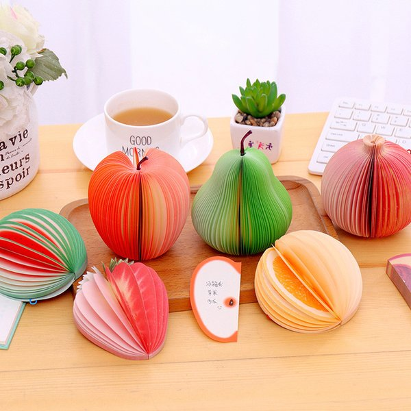 best selling Decorative Fruit Shaped Memo Pad Stationery Sticky Note Lovely Fruit Modeling Notes Stickers Notepads