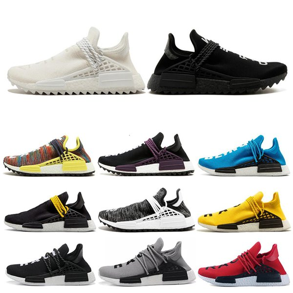 36 45 human race hu trail pharrell williams men running shoes nerd black cream orange red mens trainer women sports runner sneakers size