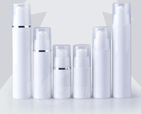 Venta al por mayor 500 unids 15 ml loción blanca botella sin aire tapas blancas claras bomba botella botella de loción emtpy para cosméticos