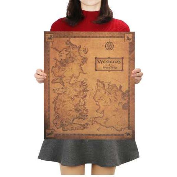 Jogo de Tronos Westeros Mapa Retro Kraft Papel Poster Bar Interior Decorativa Pintura Adesivo de Parede 42X36 cm juego de tronos
