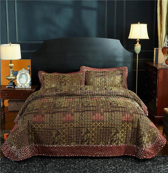 Роскошные 3-х частей античный лоскутное одеяло стеганые покрывала старинные обратимым покрывало ультра мягкий летний покрывало Королева размер