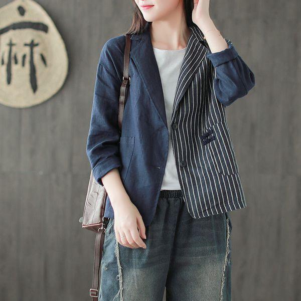 2019 Nueva otoño traje chaqueta de lino brevemente el botón Mujer retro camisa de la raya del remiendo de la manera del ocio de gran tamaño chaqueta de la capa f1238