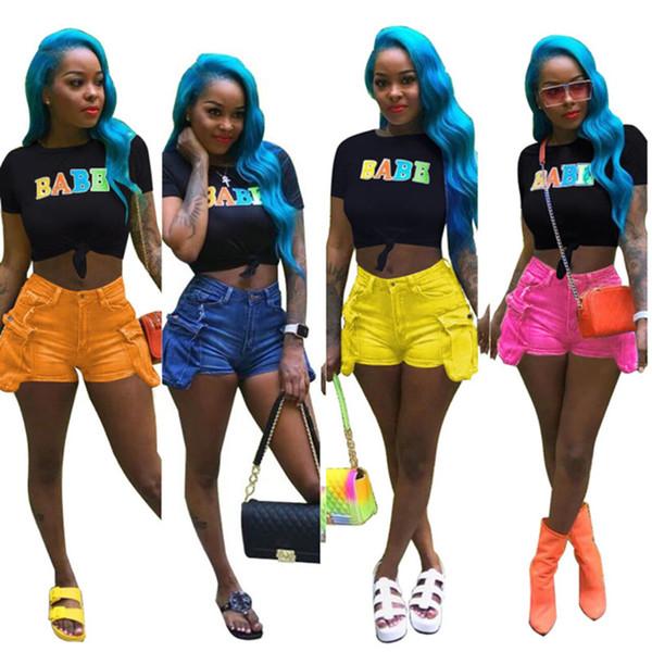 Mulheres shorts jeans denim elegante sexy acima do joelho cor sólida bodycon leggings bolso botão zipper voar skinny roupas de verão plus size 460