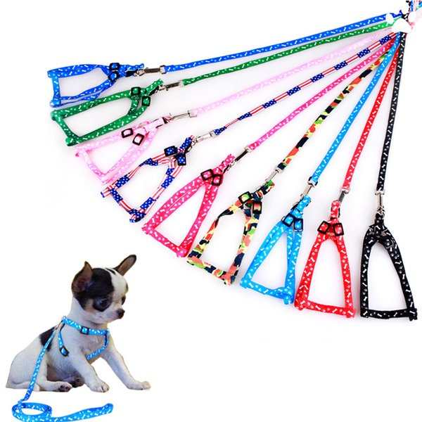 top popular Dog Harness Leashes Nylon Printed Adjustable Pet Dog Collar Puppy Cat Animals Accessories Pet Necklace Rope Tie Collar FREE SHIPPING 2020