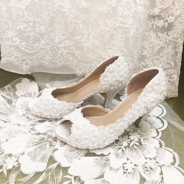 Weiße Hochzeitsschuhe Neue Perle Spitze Seite Leere Fischmundschuhe Prinzessin Schuhe Party Fotos Hochhackige Frauen