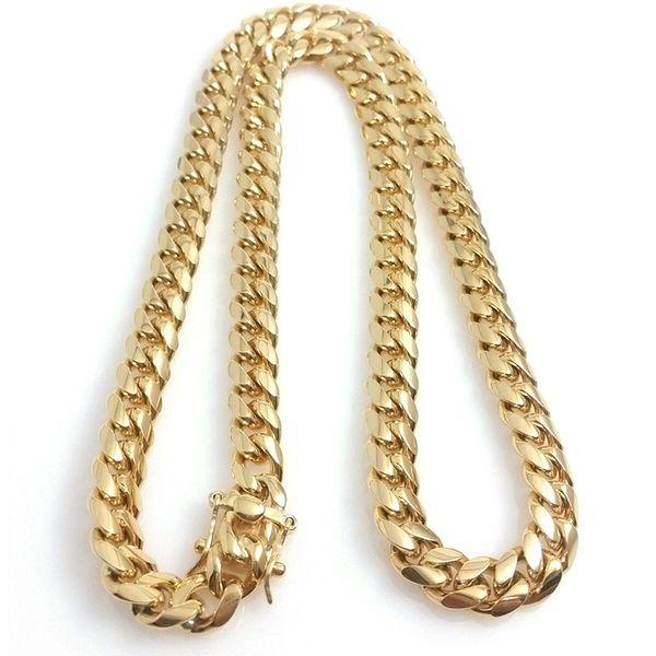 18K позолоченный Ожерелье верхнего качества Майами кубинские Link ожерелья Мужчины Punk Снаряженная Dragon-Beard Застежка ожерелье цепи 10 12 14мм