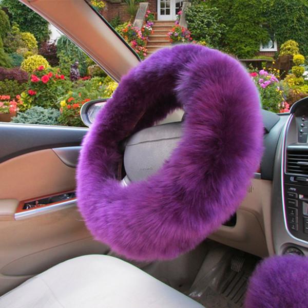 Auto coprivolante morbido peluche Keep Warm Protector di auto decorazione viola
