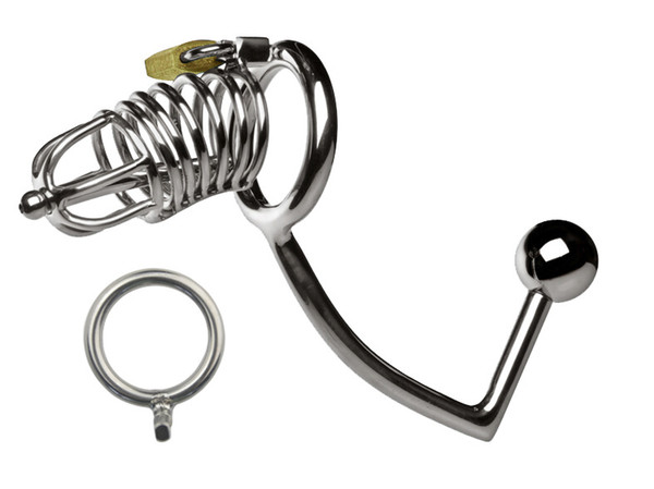 stainless steel dick cock cage with anal ball plug urethra catheter sound male chastity device sex toys XCXA160