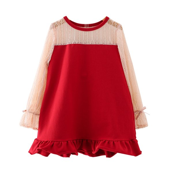 brand sweet lovely Spring new baby princess dress western lace long sleeve dress girl bow cute fishtail