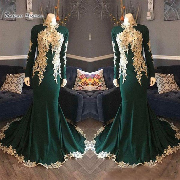 2019 Hunter Green High Neck Long Sleeves Evening Dresses With Lace Appliques Plus Size Formal Prom Party Gowns For Arabic Women