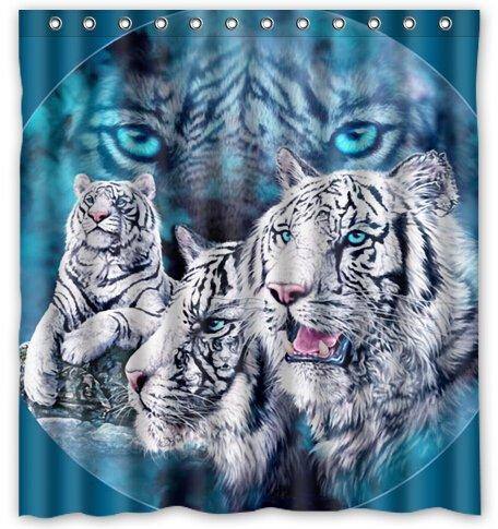 Tenda da doccia impermeabile bianca con bagno Blue Tiger