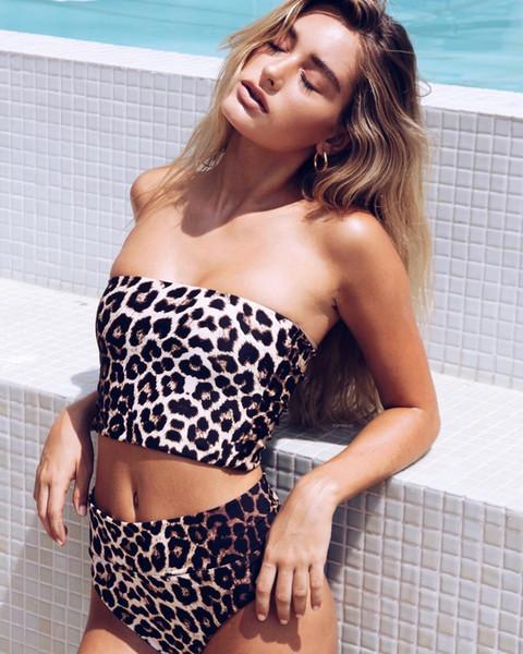CHUSHUANG 2019 léopard sans bretelles Topless Sexy Dos Nu Bikini Maillot De Bain Maillot De Bain Natation Maillot De Bain Sports D'eau Imprimé Deux-pièce Maillot De Bain