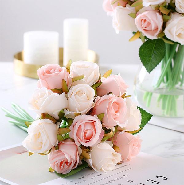 Mini Bride Wedding Bouquet Polyester 12 Heads Rose Bouquet Bridesmaid Artificial Silk Flower Diy Wedding Accessories Wedding Flowers Bridal Bouquet