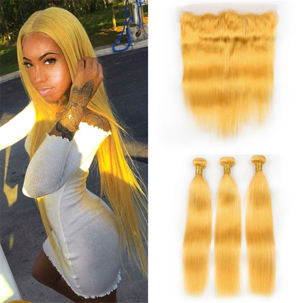 Pure Colored Yellow Lace Frontal Closure and Bundles Deals Silky Straight Human Hair Extensions Yellow Virgin Hair Weave Wefts with Frontal
