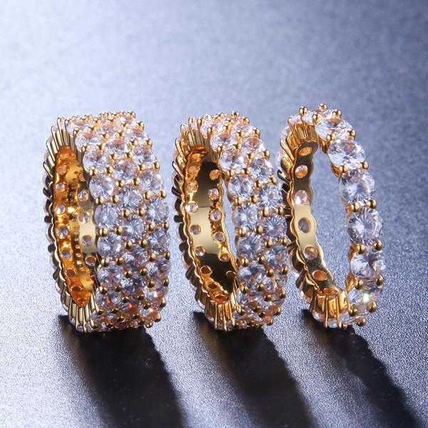 Hip Hop de bague de diamant d'imitation de mode simple et polyvalente transfrontalière vente chaude personnalisé bague vente chaude hommes bijoux