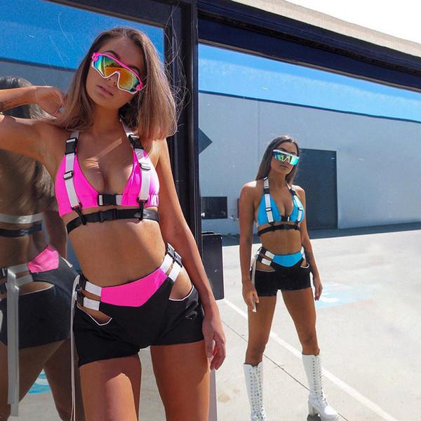 2019 mujeres sexy conjunto de dos piezas con botones con cuello en v top camisola ahueca hacia fuera trajes de verano playa vacaciones ropa