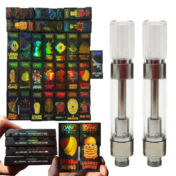 Newest Dank Vapes Cartridge Packaging with Hologram Black Box 3D Design 510 Thread 1ml Carts Thick Oil Cartridges Vaporizer Dank Vape Carts