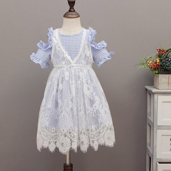Vêtements bébé fille vêtements bébé enfants vêtements de princesse épaules dénudées 2 Pcs Bleu Couleur 5 p / l