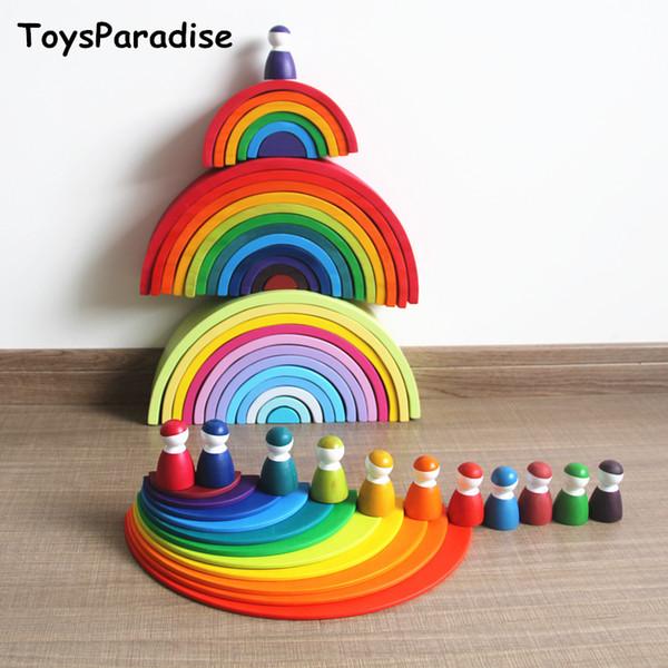 Baby Toys 6pcs Balls Rainbow Blocks 12pcs Dolls 11pcs Semicircle Building Blocks Wooden Toys For Kids Educational Birthday Gift MX190731