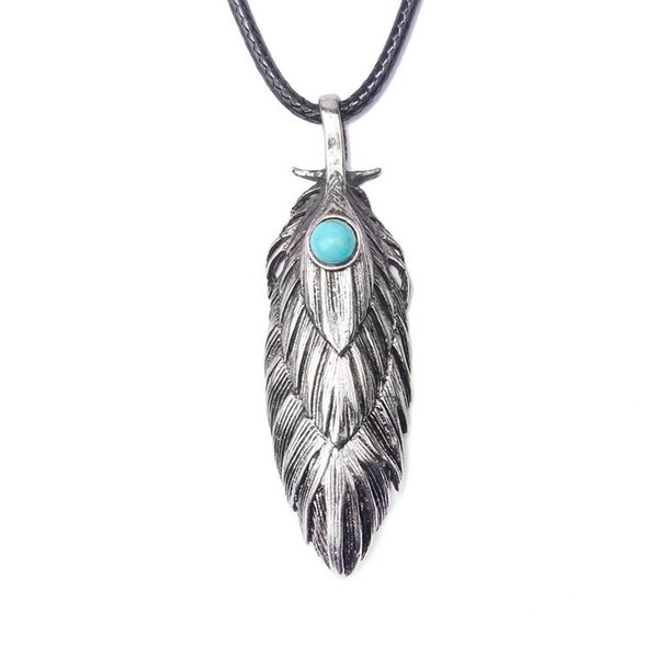 Necklace Jewelry For Men New Fashion High Quality Black Wax Rope Turquoise Antique Silver Plated Alloy Feather Long Pendant Necklaces LN029
