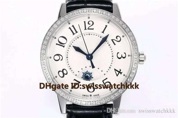 ZF Venta caliente mujer relojes de diseño suizo Cal.898A / 1 Caja automática de acero de cristal de zafiro Diamante Bisel correa de piel de becerro