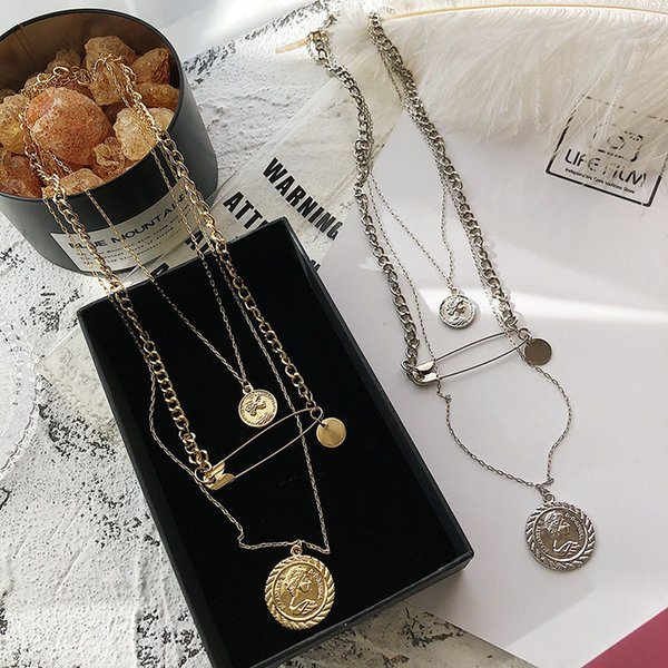 2019 Rongho New brand Vintage Metal Human Head choker necklace for women Punk Pins Pendant necklace Multi chains Bijoux