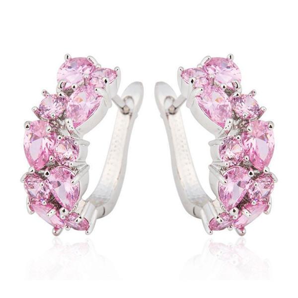 Luxury Princess Pink Cut Zircon Stud Earrings Women Girl Fantasy Silver Dangle Ear Studs Earrings Wedding Jewelry Gifts L4h685