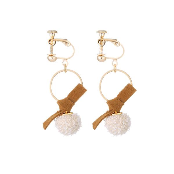 Korean temperament long pendant hair ball earrings personality bow tie cold wind ear nails ear clip ear hole woman
