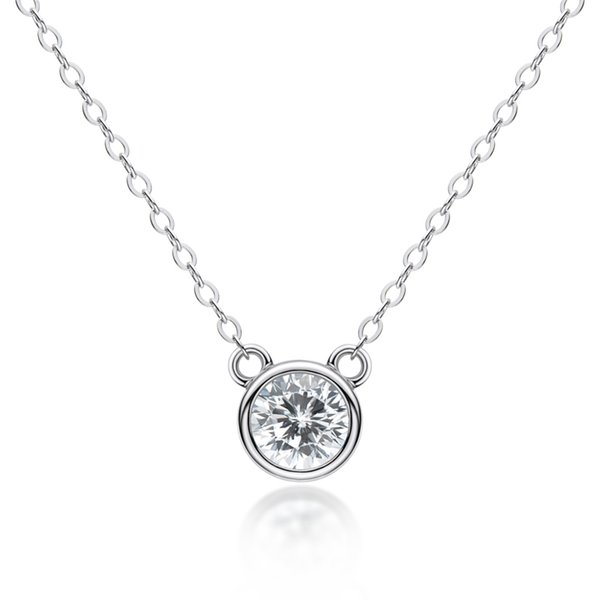 best selling AINUOSHI 925 Sterling Silver White Gold  Yellow Gold Rose Gold Color 0.5 Solitaire Round Created White Sapphire Necklace