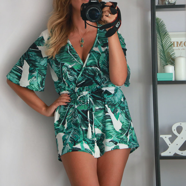 Tangada Fashion Women Boho Style Overside Chiffon Playsuits Print V Neck Jumpsuit Flare Sleeve Rompers Beach Overalls Aon16 Y190506