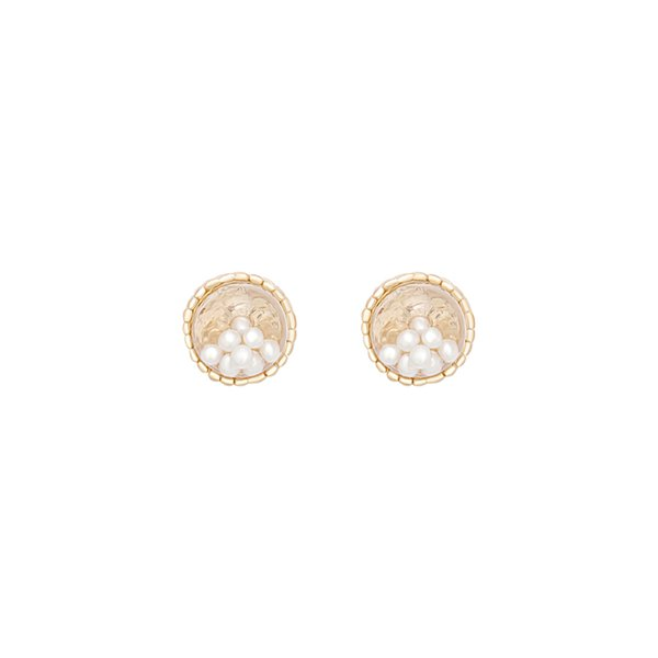 Ins Wind Sweet Dream Glass Ball Pearl Earrings Female Korean Personality Small Retro-ancient Metal-trimmed Earrings E948Ins Wind Sweet Dream