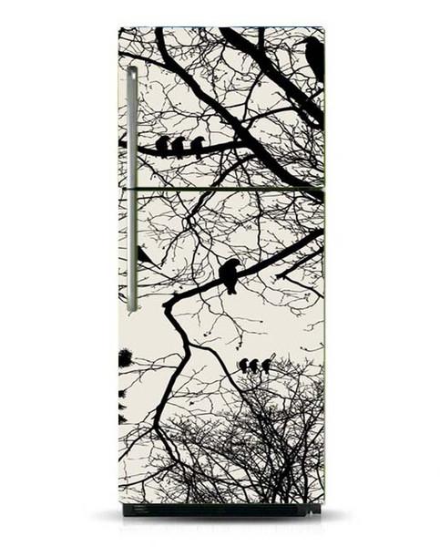 Fridge Wrap /Dishwasher Sticker/Black White Birds On Tree/Removable Self Adhesive Vinyl /Peel and Stick Decal Wallpaper